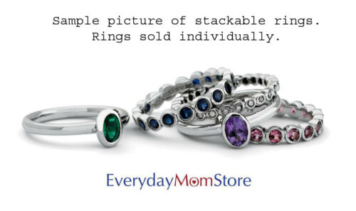 Birthstone Ring QSK509 Silver Stackable Ring Low Set 5 mm Round Amethyst Stone