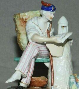 Antique-German-Meissen-Porcelain-Figurine-034-The-Newspaper-034