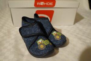 Rohde Schuhe Hausschuhe Kinderhausschuhe halbhoch Jungen blau Gr. 20 Traktor
