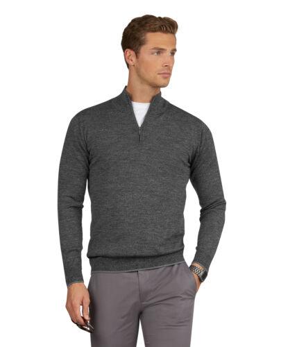 T.M.Lewin Mens Merino Wool Grey Marl Half Zip Slim Fit Jumper