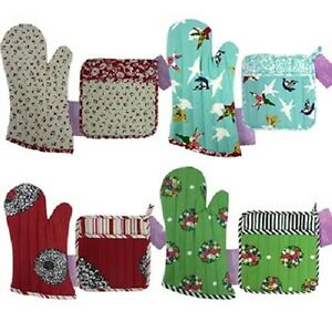 New-1950-039-s-Vintage-Retro-Style-Potholder-and-Oven-Mitt-Set-Kitchen-Gloves