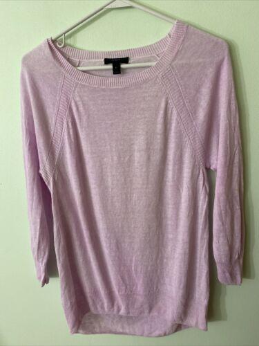 J CREW Linen High-Low Hem Sweater Pink A8250 Small