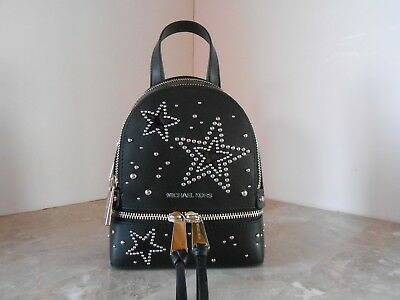 a4c50c5cb634 Michael Kors Rhea Star Extra Small Mini Leather Messenger Backpack Black  Silver