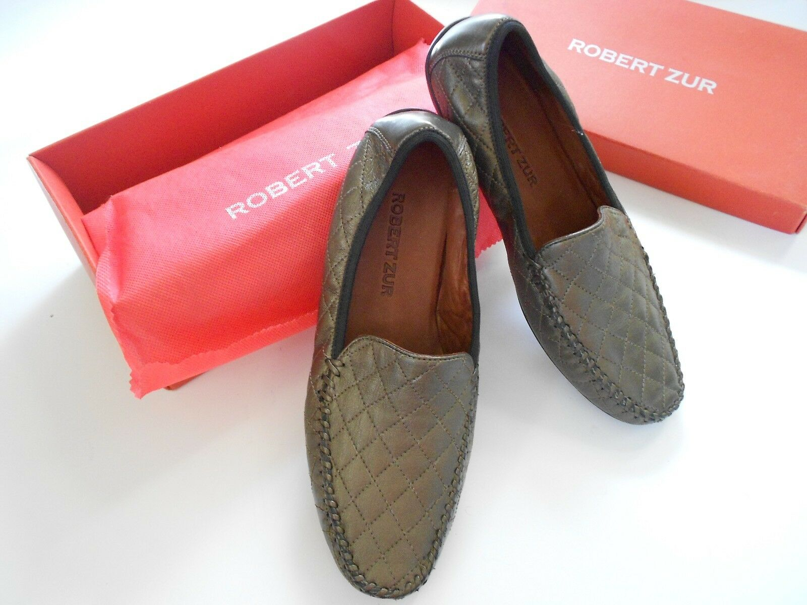 GORGEOUS QUILTED 10.5 C ROBERT ZUR BRONZE LEATHER LOAFER DRIVING chaussures  355 NWT