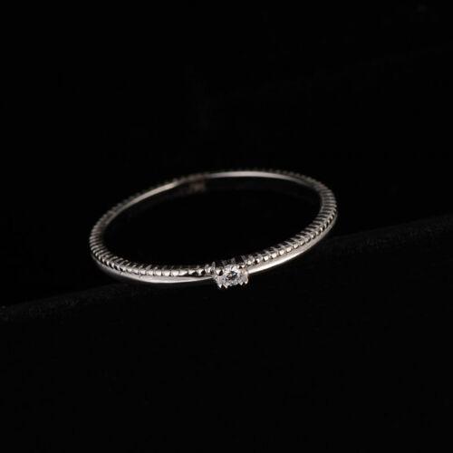 Ultra-Fine Queue Anneau Argent 925 Zircone cubique Femme Argent//Or Rose Bague De Mariage Taille 3-8