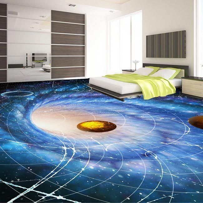 3D Time Travel Wormhole Galaxy Floor Mural Photo Flooring Wallpaper Home Decal
