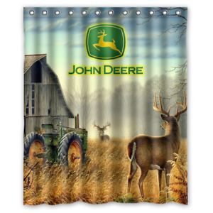 New John Deere Logo Farm Tractor Custom Print Waterproof Fabric Shower Curtain