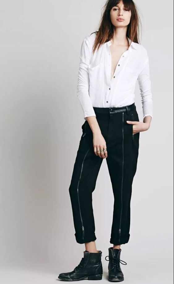 NEW Free People New Romantics New Moon All Over Zipper Leather Trim Pants  198 4