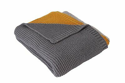 Argos Home Acrylic Knitted Throw Grey Mustard 150 X 125cm Ebay