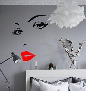 Dettagli su WD ADESIVO MURALE OCCHI BACIO BOCCA VISO camera da letto parete  sticker