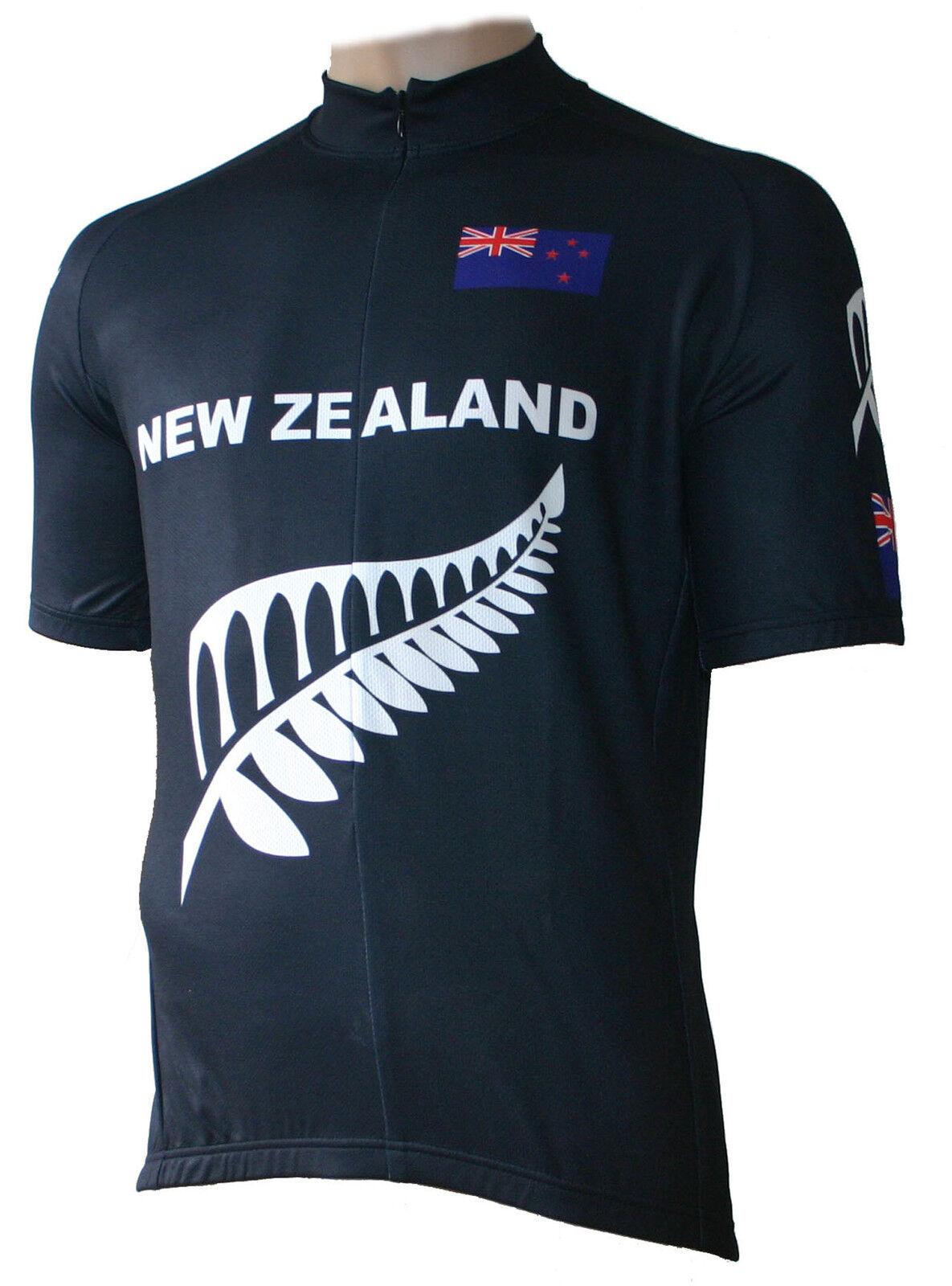 Radtrikot New Zealand black kurzarm (auch Übergrößen bis 6XL)