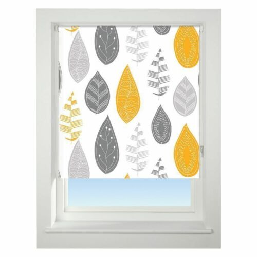 Universal 180cm Yellow /& Grey Leaf Blackout Roller Blind Window Dressings