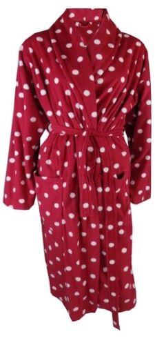 Femmes Robe de chambre doux /& chaud polaire de détente rouge /& gris à pois 8//10-20//22