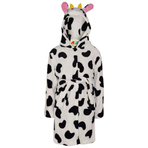 Enfants Filles 3D ANIMAL VACHE Peignoir Polaire Robe de Chambre Nightwear de détente 2-13