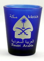 Mecca Saudi Arabia Cobalt Blue Frosted Shot Glass Shotglass