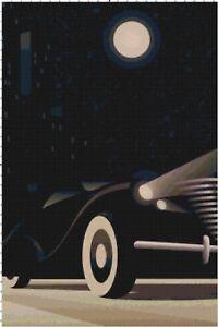 Googie-Art-Deco-Car-Handmade-DIGITAL-Counted-Cross-Stitch-Pattern-Needlepoint