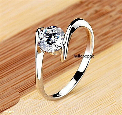 Elegant Jewelry 18K White Gold Gp Swarovski Crystal Engagement Ring BR942