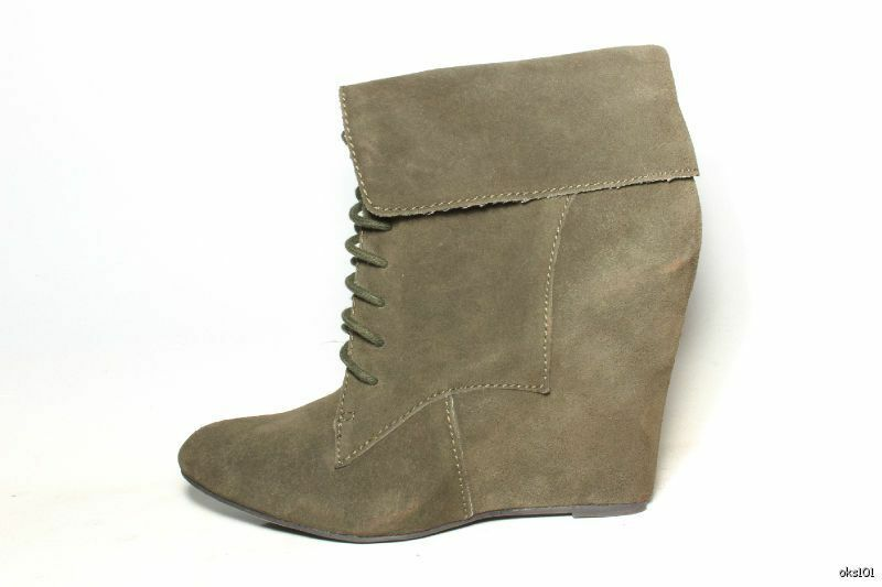New STEVE MADDEN LUXE 'Dare' olive suede PLATFORM WEDGES ankle boots 8.5