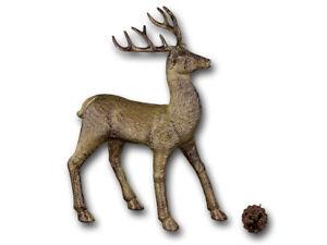 Weihnachtsdeko Gold Braun.Hirsch Dekofigur Braun Gold Stehend 31cm Weihnachtsdeko Tierfigur