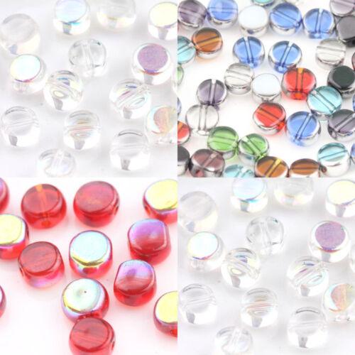 Lots 20Pcs transparent mixte//blanc//verre ROUGE PLAT ROND Loose Spacer Beads 6 mm