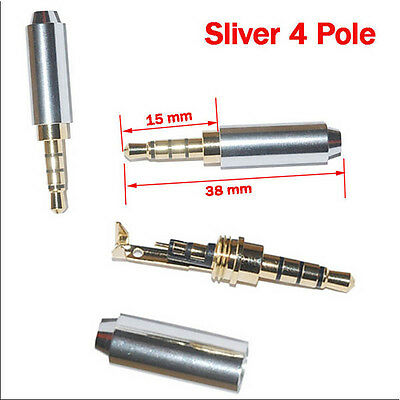 Colorful 3/4 Pole 3.5mm Male Repair headphone Jack Plug Audio Solderining
