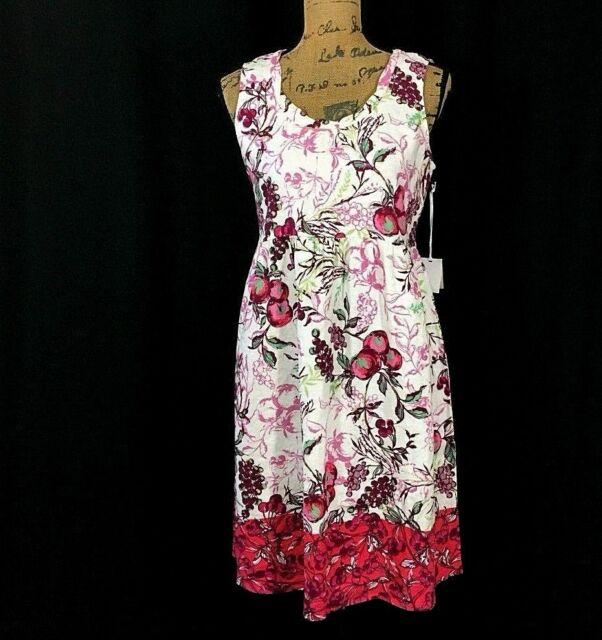 50763d46c41 NEW Linen Dress LANTANA Sm S M White Red Apple Berry Grape Fruit Twist Neck   78