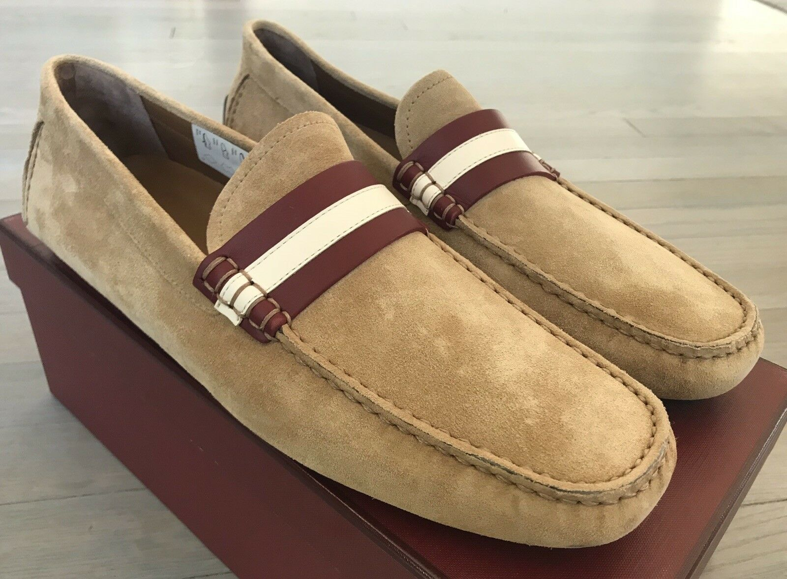 550  Bally Walker Khaki Suede Driver Size US 13 Made in Italy