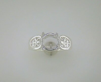 Round Cabochon Solitaire Filigree Ring Setting Sterling Silver