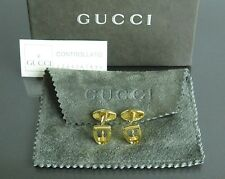 100% Authentic GUCCI Gold-tone Cufflinks Made In Italy With Box & Dust Bag