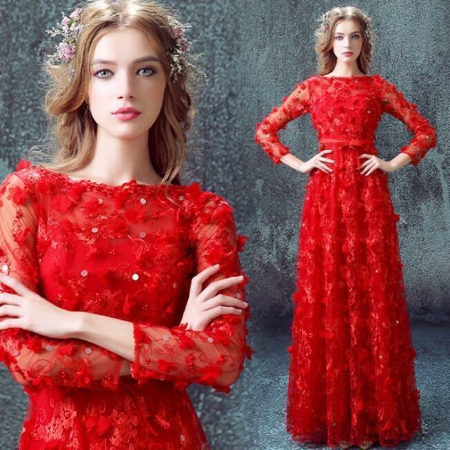 Lace Sequins Long-sleeve Long Dresses Women's Formal Prom Homecoming Gown hkm15
