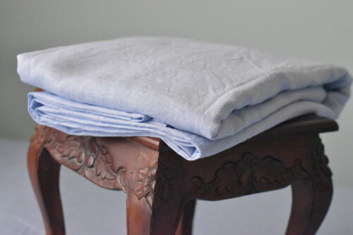 Linen SHEET SET of 4pc Stone Washed sheets and two pillowcases RUFLLE blue