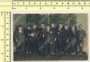 Kids Orchestra Children Boys Musicians Color Tinted vintage photo old original