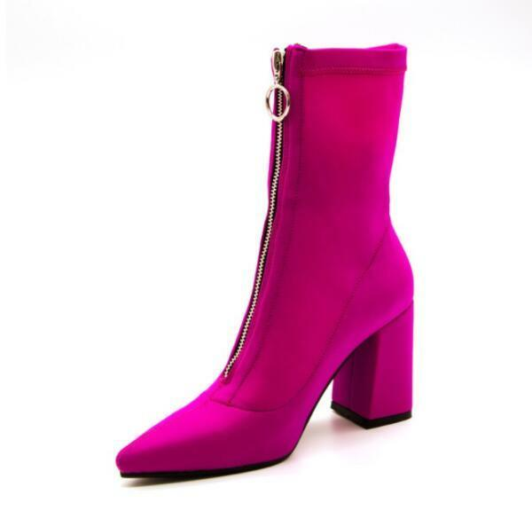 Womens Ankle Boots Suede Zipper Oxford Chunky Block High Heel shoes Sz35-43