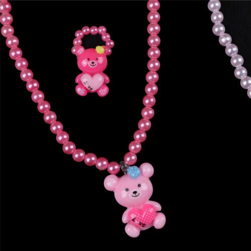 3Pcs Lovely Colorful Cartoon Children Girls Beads Necklace/&Bracelet/&Ring Set JP