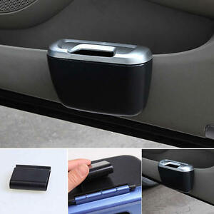 Vehicle-Car-Auto-Trash-Rubbish-Can-Dust-Garbage-Bin-Storage-Box-Container-Black