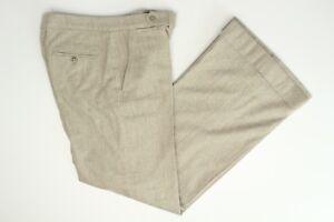 Ralph Lauren Wool Cashmere Pants 2 Solid Light Gray Flat Front Flare Leg Slacks