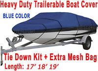Crestliner Fish Hawk 1750 Trailerable Boat Cover Brand Blue Color B1001