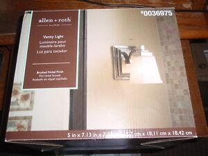 Allen+Roth Elloree 1-Light Brushed Nickel Finish Vanity Light-New-#38001