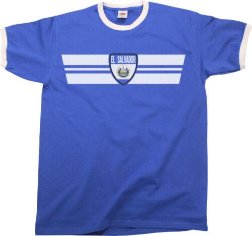 Mens Ringer T-Shirt EL SALVADOR RETRO STRIP Football,Sports,Patriotism,etc