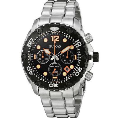 Bulova Men's 98B244 Sea King Chronograph Black Dial Stainless Steel Watch