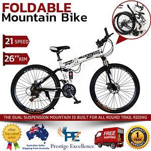 21-Speed-Foldable-Mountain-Bike-Dual-Suspension-Fitness-26-034-Rims-White-amp-Black