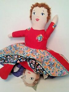 Image is loading VINTAGE-HOMEMADE-TOPSY-TURVY-DOLL-RED-RIDING-HOOD-