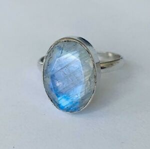 925-Sterling-Silver-Rainbow-Moonstone-Large-Oval-Ring-Gemstone-Sz-6789-10-11-12