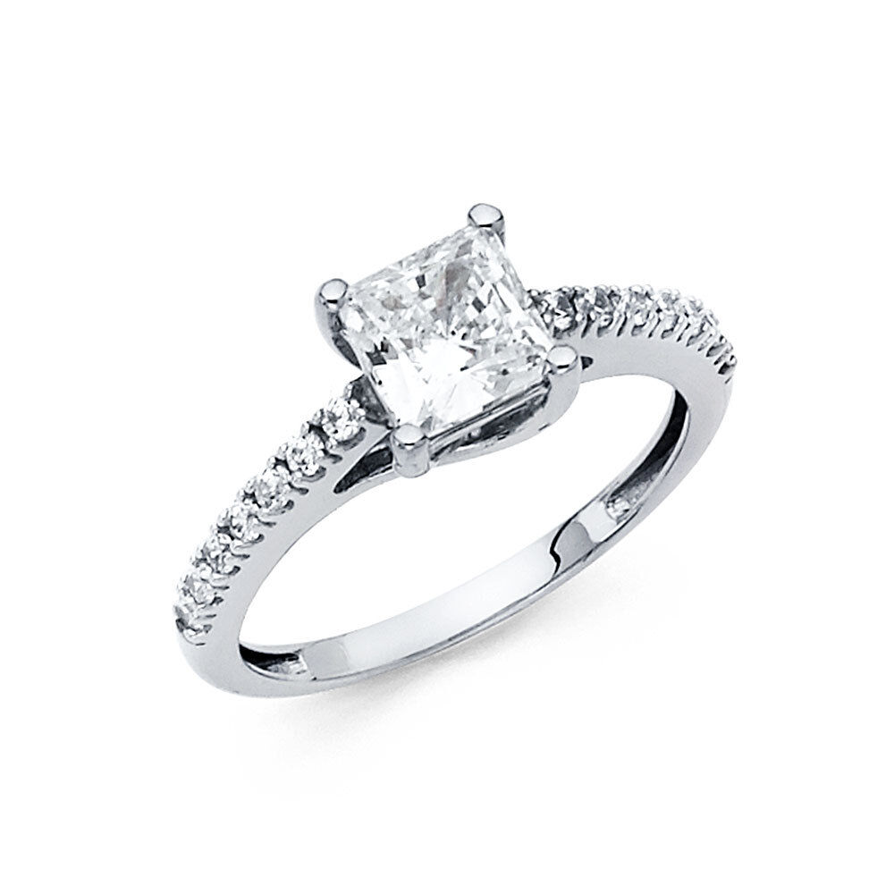 14k White gold Square Princess Cut Lab Diamond Engagement Bridal Wedding Ring