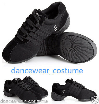 New Women Canvas Split Sole Modern Jazz Hip Hop Dance Sneakers Shoes US5-9 Black