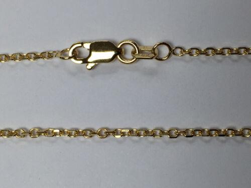 "18kt 18K Jaune or Massif 18/"" 1.5 mm Diamond Cut Câble Chaîne Collier Sautoir Homard"