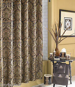 ... J QUEEN New Castle Shower Curtain Fabric Brown