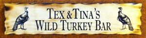 Personalised-Wild-Turkey-Bar-Rustic-Pine-Timber-Sign-600mm-x-140mm