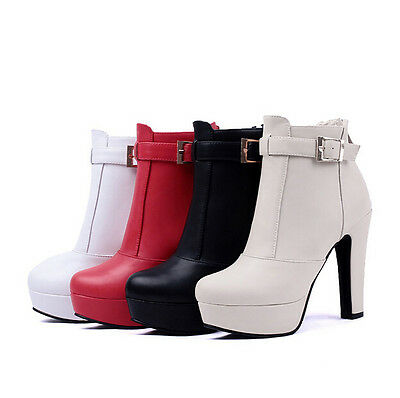 Classic Women's Faux Leather Ankle Strap Booties High Chunky Heels Shoes Boots 0