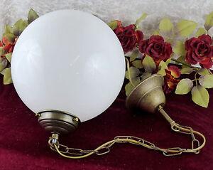 Jugendstil-Deckenlampe-Leuchte-Haengelampe-Kugel-Glas-Messing-Lampe-Antik-Edel